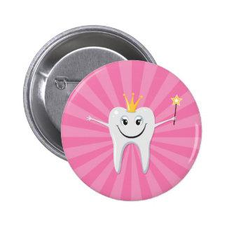 Little tooth fairy on a pink sunburst background pinback button