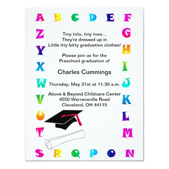 Little Tots Preschool Graduation Announcement Zazzle Com