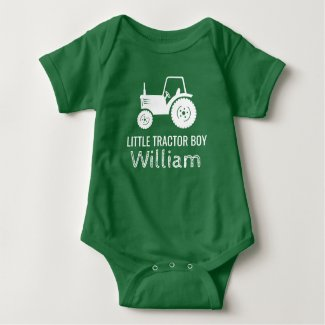 Little tractor boy white green custom baby romper