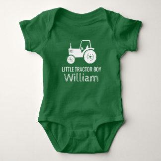 Little tractor boy white green custom baby romper