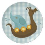 Little Travellers: Viking Elephant Blue Plate