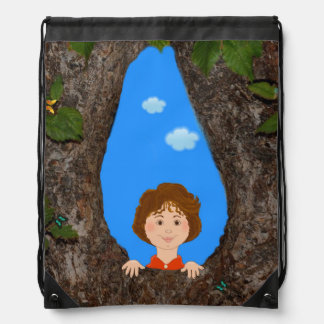 Little Tree Hugger. Drawstring Backpack