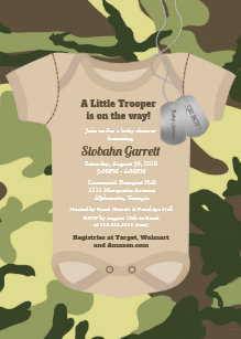 Army baby invitations zazzle little trooper army or military camo baby shower invitation filmwisefo