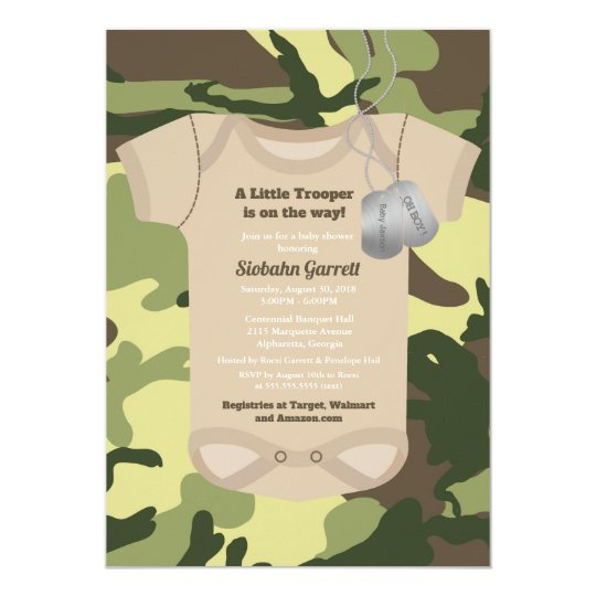 Little trooper army or military camo baby shower invitation zazzle little trooper army or military camo baby shower invitation filmwisefo