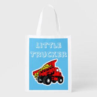 Little trucker boys trucks reusable grocery bags