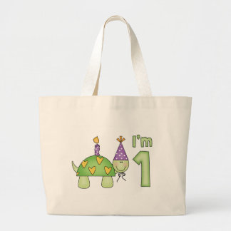 Little Turtle 1st Birthday Large Tote Bag