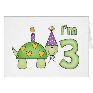 Little Turtle 3rd Birthday Card