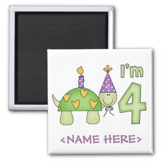 Little Turtle 4th Birthday 2 Inch Square Magnet