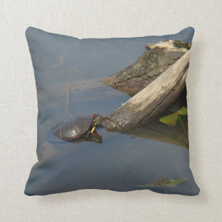 Little Turtle On A Log Throw Pillow
