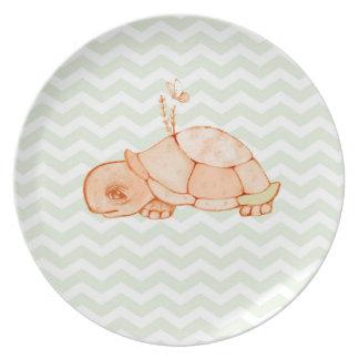 Little turtle on mint green chevron pattern plates
