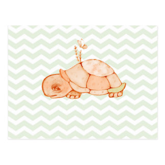 Little turtle on mint green chevron pattern postcard