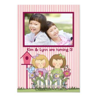 Little Twin Gardeners - Photo Birthday Party  Invi 5x7 Paper Invitation Card