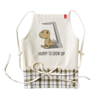 Little Tyrannosaurus- Hurry to grow up Zazzle HEART Apron
