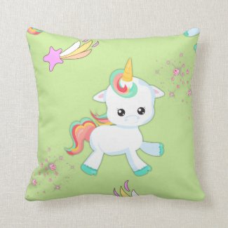 Little Unicorn on Green Throw Pillow