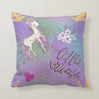 Little Unicorn Princess Throw Pillow