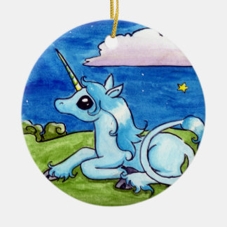 Little Unicorn Wishing on stars Double-Sided Ceramic Round Christmas Ornament