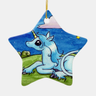 Little Unicorn wishing on stars Double-Sided Star Ceramic Christmas Ornament