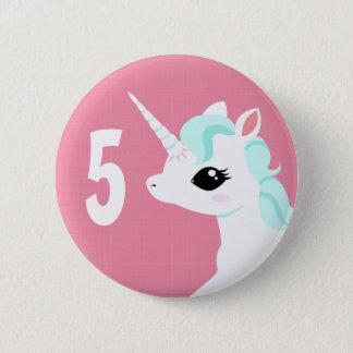 Little Unicorn with blue mane badge Birthday Pinback Button