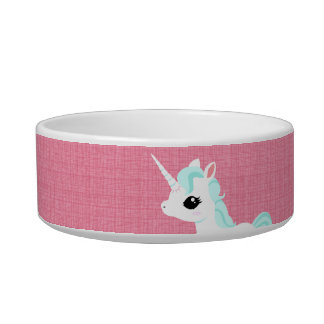 Little Unicorn with blue mane pet bowl Cat Water Bowls