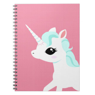 Little Unicorn with blue mane spiral book pad Spiral Notebook