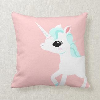 Little Unicorn with Blue mane Throw Pillow