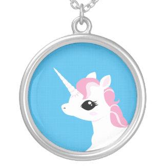 Little Unicorn with Pink mane Round Pendant Necklace