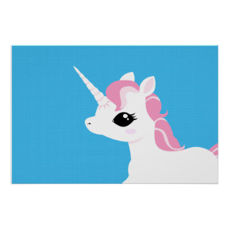 Little Unicorn with pink mane poster