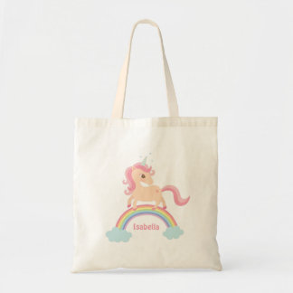 Little Unicorn with Star on Rainbow Girls Tote Bag