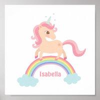 Little Unicorn with Star on Rainbow Girls Wall Art