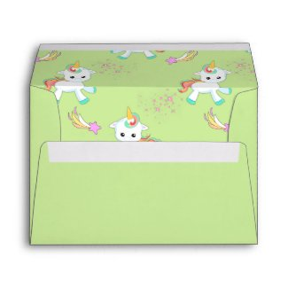 Little Unicorns on Green Envelope