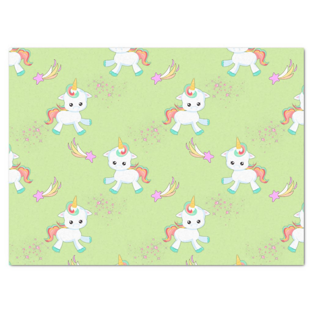 Little Unicorns on Green Tissue Paper