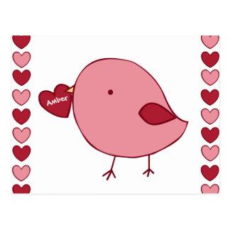 Little Valentine chick custom postcard