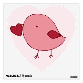 Little Valentine chick heart wall decal