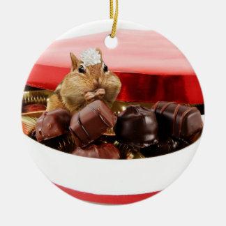 Little Valentine Chipmunk Ceramic Ornament