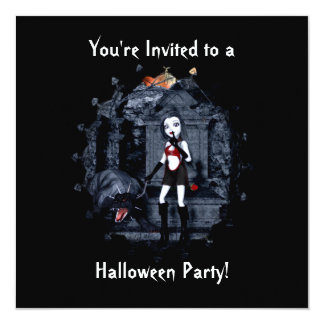 Little Vamp Halloween Invitation 1