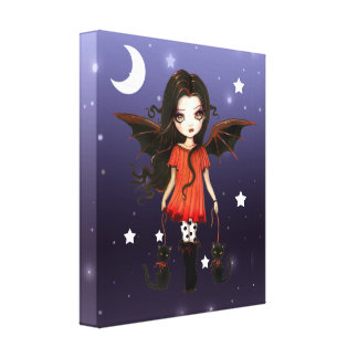Little Vampire with 2 Cats Wrapped Canvas Print