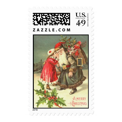 Little Victorian Girl Whispers Her Wishes To Santa Postage