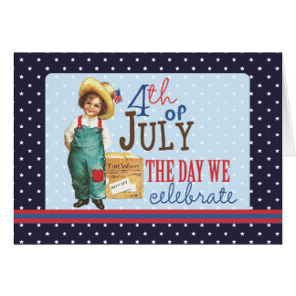Little Vintage American Boy 4th of July Greeting Card