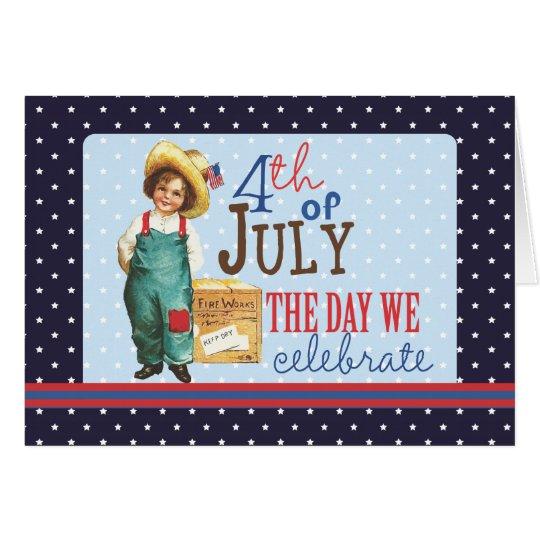 Little Vintage American Boy 4th of July Card