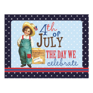 Little Vintage American Boy 4th of July Postcard