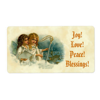 Little Vintage Angels and Harp Blessings Joy Love Label