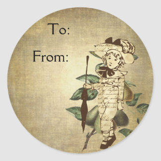 Little Vintage Boy in Vintage Garb with Pears Classic Round Sticker