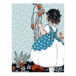 Little Vintage Girl Black Curls in Flowers Postcard