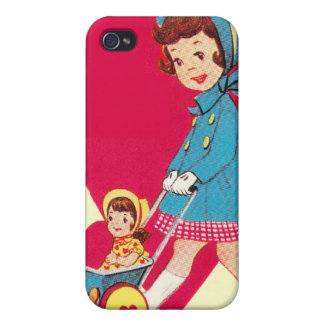 Little Vintage Girl Case For iPhone 4