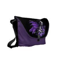 violet, purple, fairy, faery, fae, faerie, fantasy, art, flower, lilies, butterfly, myakejelina, Rickshaw messenger bag with custom graphic design