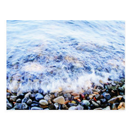 Little wave and colorful stones postcard