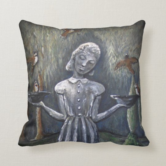 Little Wendy Bird Girl Throw Pillow Zazzle Fascinating Little Girl Decorative Pillows