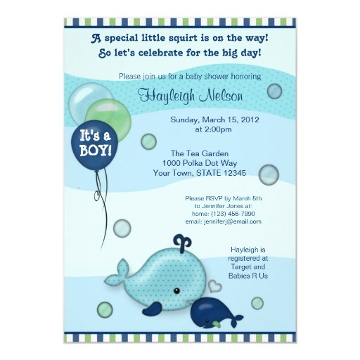 Little Whale Baby and Mommy kiss Baby Shower 5x7 Paper Invitation Card