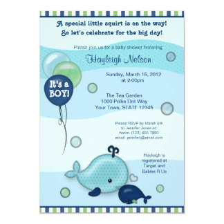 Little Whale Baby and Mommy kiss Baby Shower Card