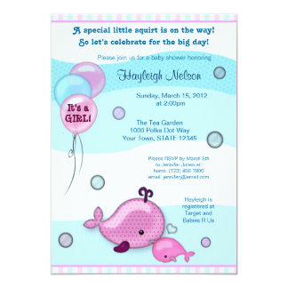 Little Whale Baby and Mommy kiss Baby Shower pink 5x7 Paper Invitation Card